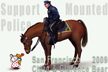 Cat Wong, illustration of children's characters Clara and  Clarence Bear offering apple to feed San Francisco 's Golden Gate  Mounted Police Horse with Police rider smiling on