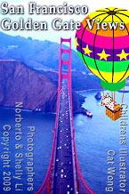 Children's illustrator's character Carla in hot air balloon points at Golden Gate Bridge , photo from Norberto & Shelly Li circa 2009