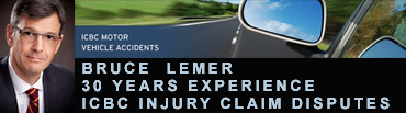 Bruce Lemer, with over 30 years experience in ICBC personal injury disputes , Vancouver  laywer photo on graphic of car on highway