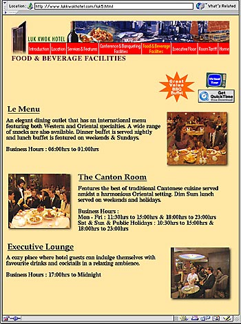 international and Chinese dining faclities and executive lounges